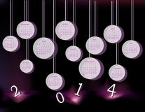 Calendar for 2014 year. With circles Royalty Free Stock Images