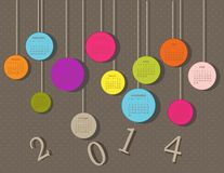 Calendar for 2014. Year with circles Stock Photography