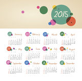 Calendar 2015 year with circles. The modern calendar 2015 year with circles vector, eps 10 vector illustration