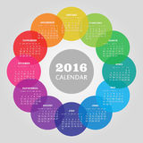 Calendar 2016 year with colored circle. Vector, eps 10 stock illustration