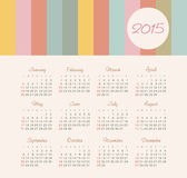 Calendar 2015 year with colored lines Stock Image