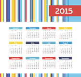 Calendar 2015 year with colored lines Stock Photography