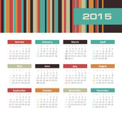 Calendar 2015 year with colored lines. The modern calendar 2015 year with colored lines vector, eps 10 Stock Image