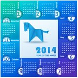 Calendar for the year 2014 of colored paper. Blue origami horse. English calendar grid for 2014 vector illustration