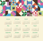 Calendar 2015 year with colored patterns Stock Images