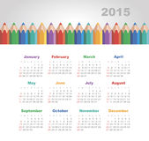Calendar 2015 year with colored pencils. Vector, eps 10 vector illustration
