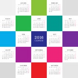 Calendar 2016 year with colored square. Vector vector illustration