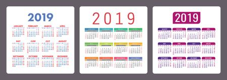 Calendar 2019 year. Colorful English set. Week starts on Sunday. Vector template collection. Calender collection. Basic grid stock illustration