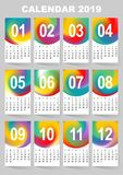 Calendar for 2019 year. Colorful gradient mesh vector set. The week starts on Sunday. Template for your design.  royalty free illustration