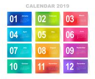 Calendar for 2019 year. Colorful gradient mesh vector set. The week starts on Sunday. Template for your design Royalty Free Stock Image