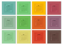 Calendar 2017 year with colorful pages. Colorful calendar for 2017 year. Week Starts Sunday. Vector template for square pages of calendar Royalty Free Stock Photography
