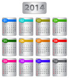 2014 calendar. Calendar for 2014 year with colorful stickers. Vector vector illustration