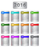 2016 calendar. Calendar for 2016 year with colorful stickers. Vector illustration stock illustration