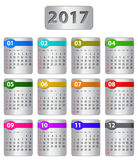2017 calendar. Calendar for 2017 year with colorful stickers. Vector illustration Stock Photography