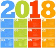 Calendar for 2018 year Stock Photo