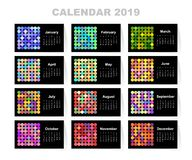 Calendar for 2019 year. Colorful vector set. Week starts on sunday. Template for your design.  vector illustration