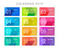 Calendar for 2019 year. Colorful vector set. Week starts on sunday. Template for your design Stock Photos