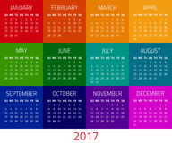 Calendar for 2017 year. Colorful calendar for 2017 year. Week starts sunday. Design template Royalty Free Stock Photo