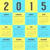 Calendar of 2015 year in the colors of Ukrainian flag. Vector illustration stock illustration