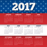Calendar for 2017 Year in colors of USA flag with stars and stripes. Week starts from sunday. Vector Design Template Stock Images