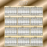 Calendar for year 2017 Royalty Free Stock Images