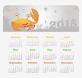 Calendar 2015 year with crab Royalty Free Stock Image
