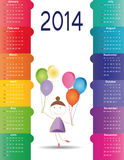 Calendar on 2014 year. Cute and colorful calendar on 2014 year Stock Image