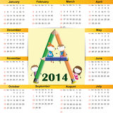 Calendar on 2014 year Royalty Free Stock Photography
