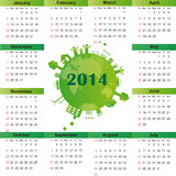 Calendar on 2014 year. Cute and green calendar on 2014 year Royalty Free Stock Image