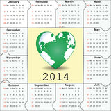 Calendar on 2014 year. Cute and green calendar on 2014 year Royalty Free Stock Photography