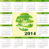 Calendar on 2014 year. Cute and green calendar on 2014 year Stock Illustration