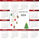 Calendar on 2014 year. Cute and simple calendar on 2014 year Stock Photo