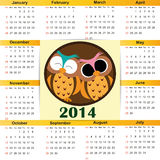 Calendar on 2014 year. Cute and simple calendar on 2014 year Royalty Free Stock Images