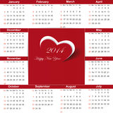 Calendar on 2014 year. Cute and simple calendar on 2014 year stock illustration