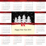 Calendar on 2014 year. Cute and simple calendar on 2014 year Stock Images