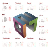 Calendar for 2017 with year 3D emblem. 3D emblem for year 2017 with square calendar template Stock Image