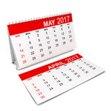 Calendar for 2017 year. 3d illustration isolated on white background Stock Photos