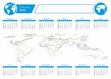 Business world calendar 2020 in blue theme. Calendar for year 2020 with 3d rendered background of world map and graphic icon Royalty Free Stock Image