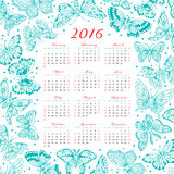 Calendar 2016 year with decorative butterflies Stock Photography
