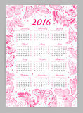 Calendar 2016 year with decorative butterflies Royalty Free Stock Photo