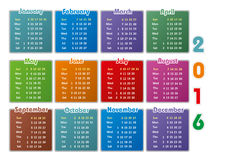 Calendar 2016 year design template. Colorful Calendar 2016 design template on white background Stock Image