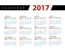 Calendar 2017 year  design template Royalty Free Stock Photo