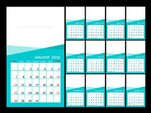 Calendar year design.  Vector  illustration Template. Set of twelve Months. Week Starts Sunday Royalty Free Stock Photo