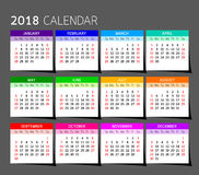 Calendar year design.  Vector  illustration Template. Set of twelve Months. Week Starts Sunday Stock Photography