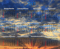 Calendar for 2017 year in English and French Stock Photos