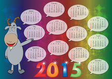 Calendar for Year 2015_06. Vector of English calendar for year 2015, week starts on Monday Stock Illustration