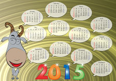 Calendar for Year 2015_04. Vector of English calendar for year 2015, week starts on Monday Stock Photography