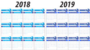 Calendar for year 2018 and 2019. Royalty Free Stock Images