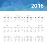 Calendar for 2016 year. European сalendar for 2016 year. Vector design template with polygonal picture vector illustration