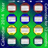 Calendar for 2014 year. Royalty Free Stock Images